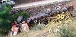 Sondaj kamyonu devrildi, 1 kişi yaralandı